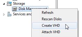 จากนั้น ใน Disk Mangement คลิกขวา แล้วเลือก Create VHD