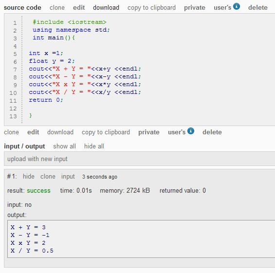 การ บวก ลบ คูณ หาร ตัวแปรต่างชนิดกันใน C++