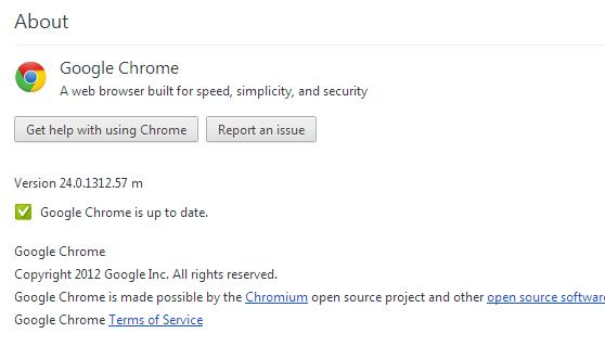 อัพเดท Chrome