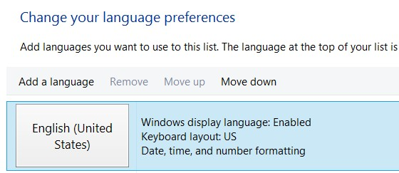Change your language preferences