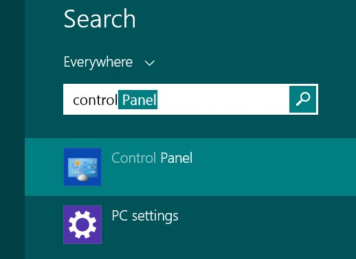 Control Panel Windows 8